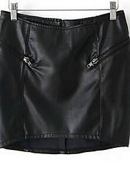 Damen Röcke,A-Linie einfarbigAusgehen Mittlere Hüfthöhe Mini Elastizität PU Micro-elastisch Sommer