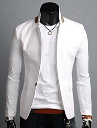 Men's Casual/Daily Work Simple Spring Fall Blazer,Solid Notch Lapel Long Sleeve Regular Linen