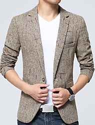 Men's Plus Size / Casual/Daily Simple Spring / Fall BlazerColor Block Shirt Collar Long Sleeve Beige / Gray Cotton / Acrylic / Polyester k340