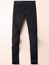 Men's Slim Jeans Pants,Casual/Daily Simple Solid Mid Rise Zipper Cotton Micro-elastic Fall / Winter