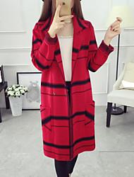 Normal Cardigan Femme Décontracté / Quotidien simple,Tartan Bleu / Rouge / Gris Col de Chemise Manches Longues Acrylique Automne Moyen