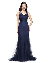TS Couture Evento Formal Vestido - Elegante Trompeta / Sirena Cuello en V Larga Tul con Apliques Cuentas En Cruz Fruncido