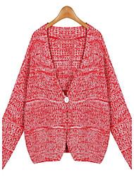 Damen Kurz Strickjacke-Lässig/Alltäglich Einfach Solide Rot Grau V-Ausschnitt Langarm Baumwolle Herbst Mittel Mikro-elastisch