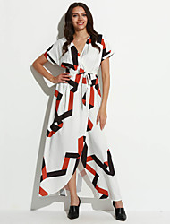 Women's Going out Street chic Swing Dress,Print V Neck Maxi ½ Length Sleeve White Polyester Summer Mid Rise Micro-elastic