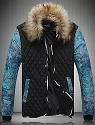 Famous Brand Design Men's Regular Padded CoatSimple Plus Size Color Block-Polyester Polyester Long Sleeve Stand Black