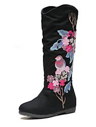 Women's Boots Fall Winter Comfort Cotton Casual Flat Heel Satin Flower Black Beige Other