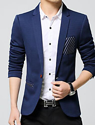 Men's Going out / Casual/Daily Vintage / Simple Winter Blazer,Solid Shirt Collar Long Sleeve Blue / Black Polyester