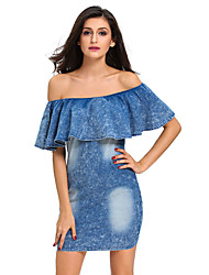 Women's Sequined Bow Back Ruffle Off Shoulder Mini Dress