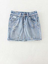 Women's Bodycon Print Denim Skirts,Casual/Daily Simple Mid Rise Above Knee Button Cotton Micro-elastic Summer