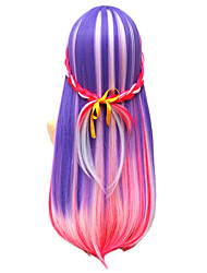Highlight Red Pink Purple Color Mixed Ombre Wig Fashion Cosplay Hairstyle Colorful Natural Wig for Women