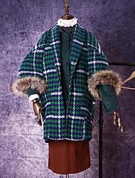 Manteau Femme,Pied-de-poule Sortie / Décontracté / Quotidien simple Manches ¾ Col de Chemise Multi-couleur Fausse Fourrure Epais Hiver