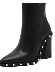 Joker willfulness rivet thick high-heeled pointed side zipper short boots