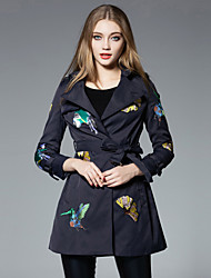 JOJO HANS Women's Casual/Daily Simple Trench CoatEmbroidered Shirt Collar Long Sleeve Winter Blue Polyester