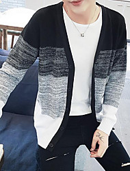 Men's Casual/Daily Simple Regular Cardigan,Color Block Blue / Red / Black V Neck Long Sleeve Cotton Fall Medium Micro-elastic