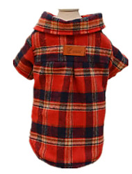 Hunde T-shirt Rot Hundekleidung Winter / Frühling/Herbst Plaid/Karomuster Lässig/Alltäglich