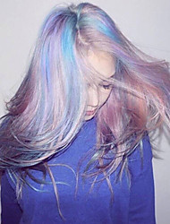 Korean Pony Wear Haristyle Fashion Long Straight Hightlight Purple Pink Blue Mixed Color Ombre Wig Heat Resistant Hot Sale It Girl Daily Wearing Wig