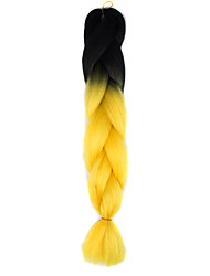Blackish Bright Yellow Ombre Crochet 24 Yaki Kanekalon 2 Tone Jumbo Braids 100g Synthetic Hair