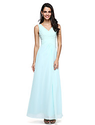 2017 Lanting Bride® Floor-length Chiffon Elegant Bridesmaid Dress - V-neck with Side Draping