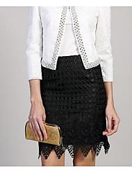 Damen Röcke,A-Linie einfarbig Spitze,Lässig/Alltäglich Einfach Mittlere Hüfthöhe Über dem Knie Reisverschluss Polyester Micro-elastisch