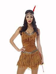 Festival/Celebração Trajes da Noite das Bruxas Amarelo Estampado Vestido Decoração de Cabelo Dia Das Bruxas Natal Carnaval Oktoberfest