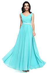 2017 Lanting Bride® Floor-length Chiffon Open Back Bridesmaid Dress - A-line V-neck with Sash