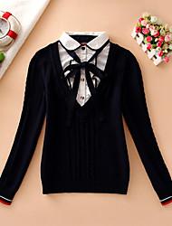 Damen Kurz Pullover-Lässig/Alltäglich Einfach Patchwork Blau Rot Hemdkragen Langarm Baumwolle Herbst Winter Mittel Mikro-elastisch