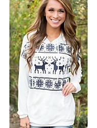 Damen Standard Pullover-Lässig/Alltäglich Einfach Geometrisch Weiß Mit Kapuze Langarm Baumwolle Frühling Herbst Mittel Mikro-elastisch