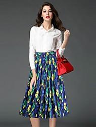 Damen Röcke,A-Linie GestreiftLässig/Alltäglich Chinoiserie Mittlere Hüfthöhe Midi Elastizität Polyester Unelastisch Herbst
