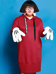 Feminino Solto Vestido,Casual / Tamanhos Grandes Simples Sólido Com Capuz Altura dos Joelhos Manga Longa Vermelho Algodão / Poliéster