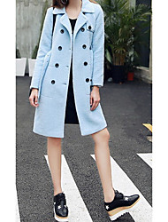 Women's Casual/Daily Simple Coat,Solid Shirt Collar Long Sleeve Spring Blue Polyester Medium