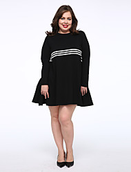 Tee Shirt Robe Femme Décontracté / Quotidien simple,Couleur Pleine Col Arrondi Au dessus du genou Manches Longues Noir CotonTaille