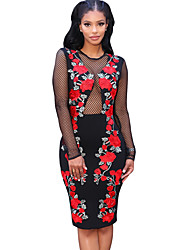 Women's Casual/Daily / Club Sexy / Vintage Bodycon See-through Blouses DressFloral Split Mesh Round Neck Above Knee Long Sleeve Mid Rise