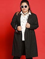 Manteau Femme,Rayé Décontracté / Quotidien / Grandes Tailles simple Manches Longues Revers Cranté Noir Polyester / Spandex / Autres Hiver