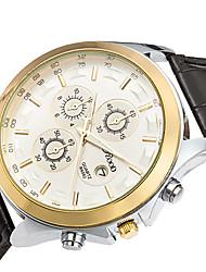 Men's Wrist watch Quartz Calendar Genuine Leather Band Cool Casual Black Brown Brand