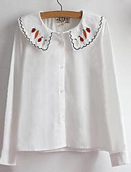Женский На каждый день Весна / Осень Рубашка Круглый вырез,Простое Однотонный Белый Длинный рукав,Хлопок,Средняя