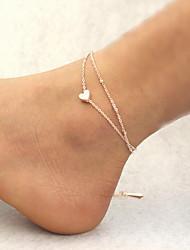 Mulher do coração liga de prata fecho lagosta tornozeleira