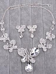 Schmuck 1 Halskette / 1 Paar Ohrringe Imitierte Perlen / Strass Hochzeit 1 Set Damen Silber Hochzeitsgeschenke