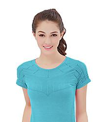 Corrida Camiseta Mulheres Manga Curta Respirável / Secagem Rápida / Confortável Náilon ChinêsIoga / Acampar e Caminhar / Exercicio e