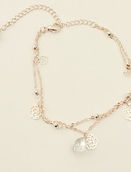 Women's Anklet/Bracelet Rose Gold Silver European Multi Layer Flower Rose Jewelry For Party