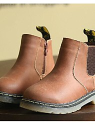 Boy's Boots Fall / Winter Comfort Cowhide Casual Flat Heel Black / Yellow / Coffee Walking