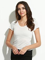 Tee-shirt Aux femmes,Couleur Pleine Sortie Sexy / simple Manches Courtes Col Arrondi Rouge / Blanc / Noir Coton Fin