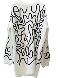 Damen Lang Pullover-Lässig/Alltäglich Niedlich Gestreift Weiß Schwarz Rundhalsausschnitt Langarm Acryl Herbst Mittel Mikro-elastisch