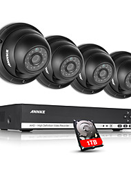 ANNKE 4CH CCTV Camcorder Set AHD DVR 4PCS 720P IR Outdoor Home Security Camera Surveillance System Kit Built-in 1TB HDD