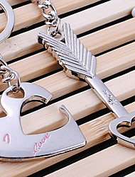 Stainless Steel Wedding Keychain Favors-2 Piece/Set Couples Keychains Beach Theme Non-personalised Heart Design Valentine's Day