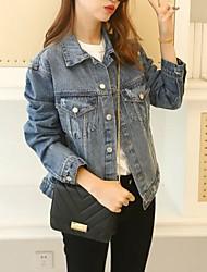 Feminino Jaquetas Jeans Informal / Casual estilo antigo / Moda de Rua Todas as Estações,Estampado / Bordado AzulPoliéster / Fibra