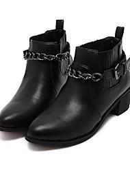 Damen-Stiefel-Lässig-PU-BlockabsatzSchwarz