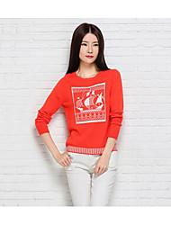 Damen Standard Pullover-Lässig/Alltäglich Einfach Tierfell-Druck Blau Orange Rundhalsausschnitt Langarm Baumwolle Polyester Herbst Winter