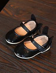 Girl's Flats Spring / Summer / Fall Others / Comfort Fabric Casual Flat Heel Bowknot / Sequin / Magic Tape Black / Pink Others