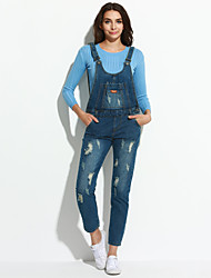 Women's Solid Blue Jumpsuits,Vintage Strap Sleeveless
