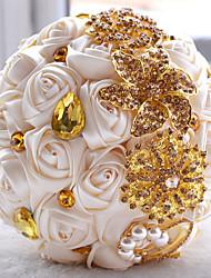 "Wedding Flowers Round Roses Bouquets Taffeta 19.7""(Approx.50cm)"